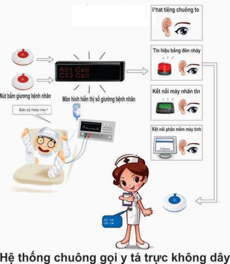 Thành phần hệ thống chuông gọi y tá không dây
